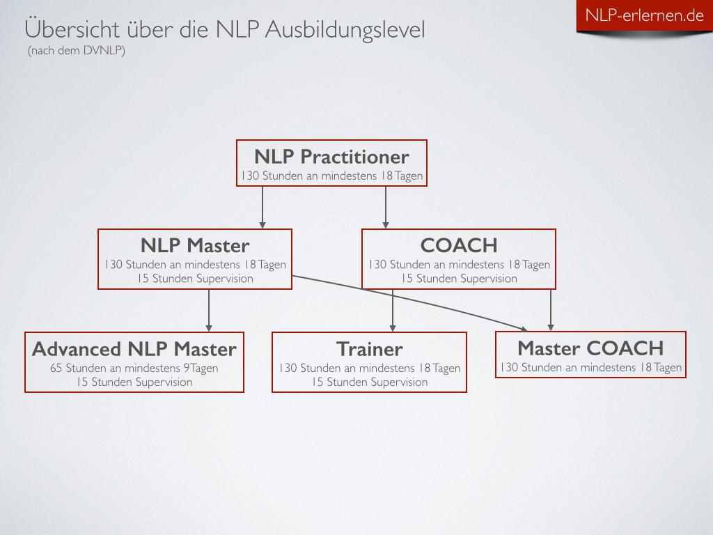 Anzeige der 6 Stufen der NLP Ausbildung und deren jeweiliger Ausbildungsdauer nach den Statuten des DVNLP