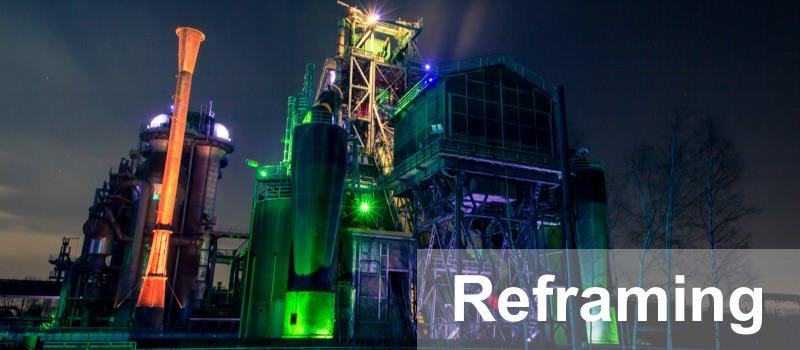 NLP Technik Reframing wird über ein Kraftwerk dargestellt, das in einem neuen Rahmen eine neue Bedeutung bekommt