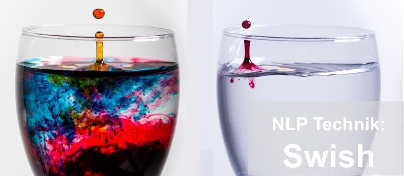 NLP Technik Swish wird durch zwei Gläser dargestellt, die unterschiedlich gefüllt sind.