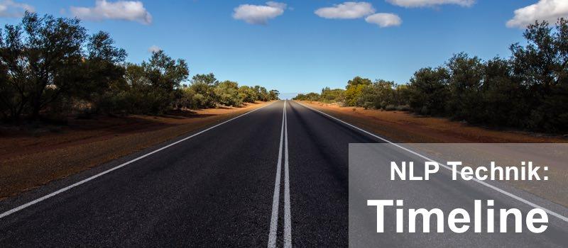 Die NLP Technik Timeline wird durch eine Straße in den Horizon dargestellt die im Verlauf heller wird.